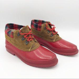 Vintage Rain Duck Boots • Red / Green • sz 8